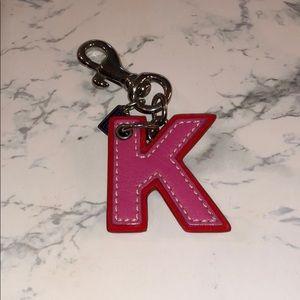 """Coach """"K"""" Initial Keychain"""